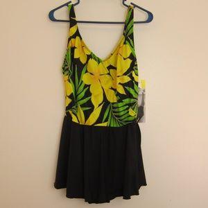 Longitude Swim Dress 1 Piece 18 Yellow Floral New